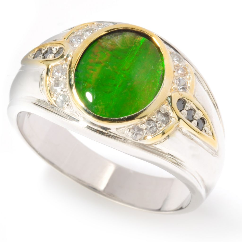 117-478 - Men's en Vogue II Ammolite Triplet, Black Diamond & White Sapphire Ring