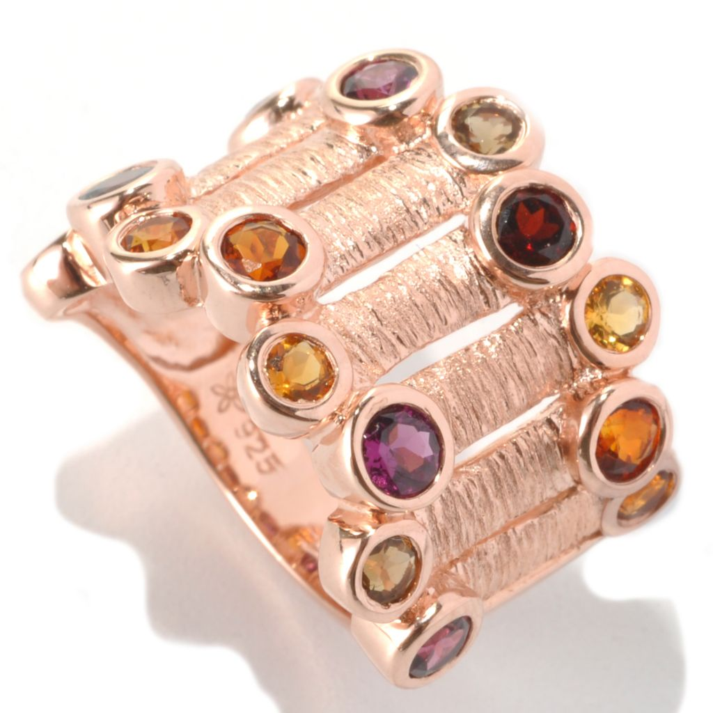 117-707 - Michelle Albala Multi Gemstone Staggered Edge Wide Band Ring