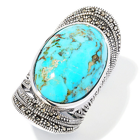 117-760 - Gem Insider® Sterling Silver 26 x 16.5mm Oval Turquoise & Marcasite Ring