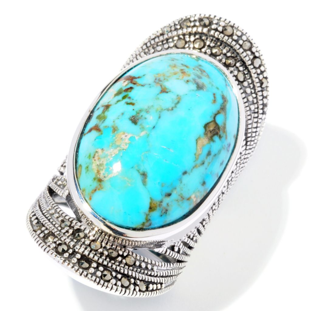 117-760 - Gem Insider Sterling Silver 26 x 16.5mm Oval Turquoise & Marcasite Ring