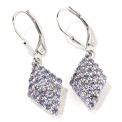 117-793 - Gem Insider Sterling Silver 1.50ctw Marquise Shaped Tanzanite Cluster Earrings