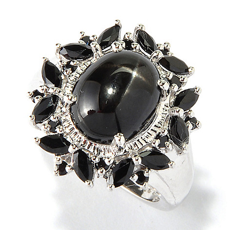 117-851 - NYC II 11 x 9mm Black Star Diopside & Black Spinel Ring