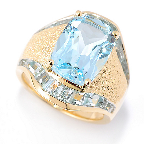 117-903 - Omar Torres Cushion-Cut Gemstone & Tapered Baguette Wide Band Ring