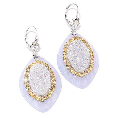 117-946 - Gem Insider™ Sterling Silver 33 x 23mm Lace Agate & Multi Gem Drop Earrings