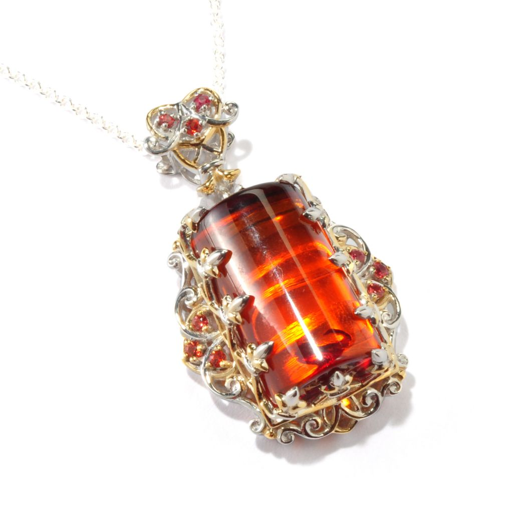 118-023 - Gems en Vogue 20 x 12mm Baltic Amber & Orange Sapphire Pendant w/ Chain