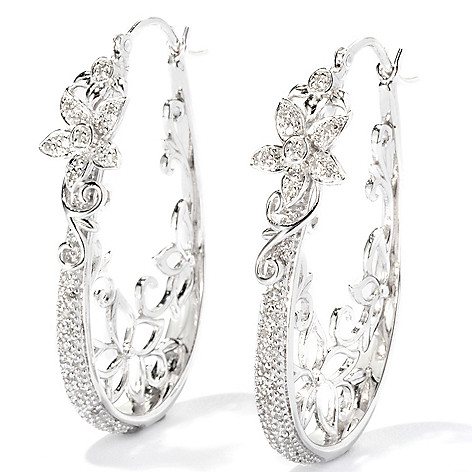 118-173 - Diamond Treasures Sterling Silver 1.25'' 0.20ctw Diamond Floral Hoop Earrings