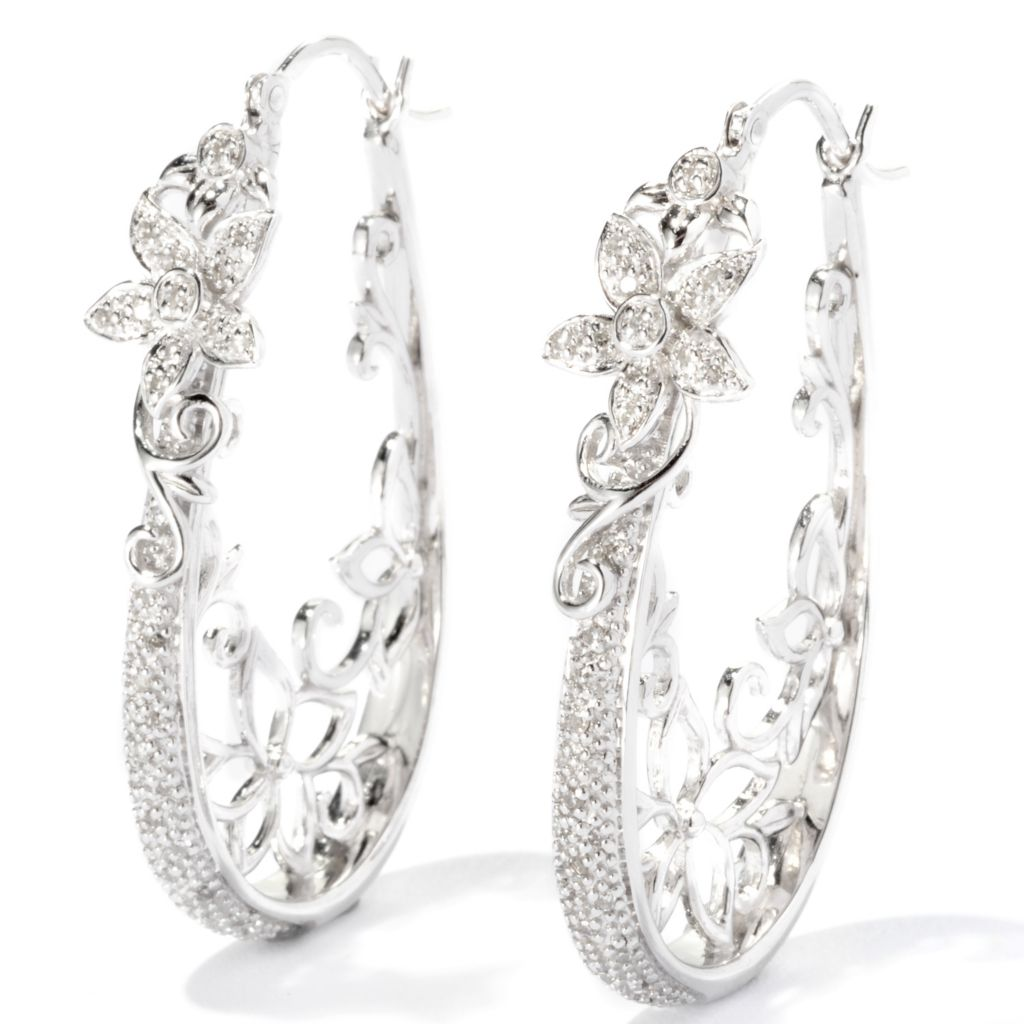 "118-173 - Diamond Treasures Sterling Silver 1.25"" 0.20ctw Diamond Floral Hoop Earrings"