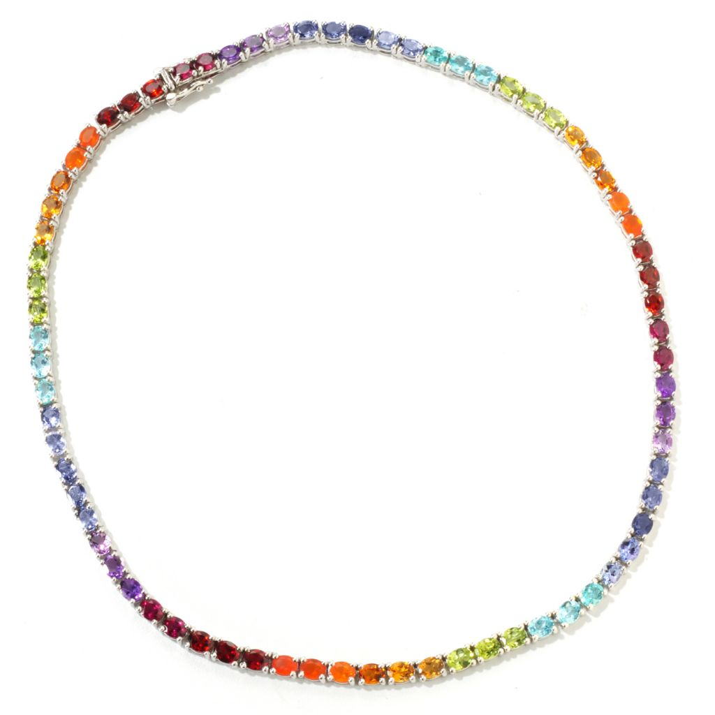 118-248 - NYC II 22.00ctw Exotic Rainbow Multi Gemstone Tennis Necklace