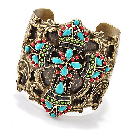 118-377 - Sweet Romance™ 7'' RetroMex Mayan Cross Cuff Bracelet