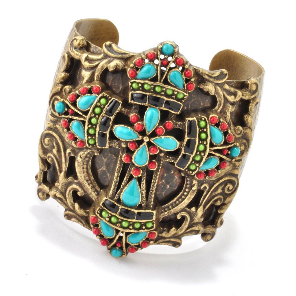 "118-377 - Sweet Romance™ 7"" RetroMex Mayan Cross Cuff Bracelet"