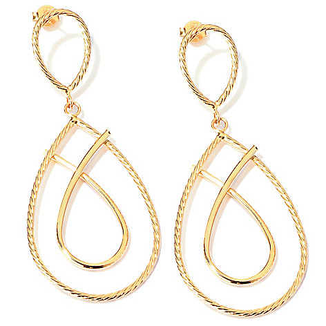 118-383 - 14K Gold 2.5'' Ribbed Twist Pear Shaped Tier Earrings