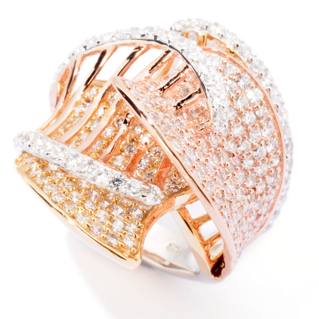 118-403 - Sonia Bitton 2.55 DEW Tri-Color Simulated Diamond Layered Ring