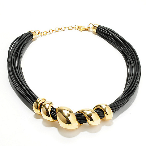 118-524 - Portofino Gold Embraced™ 18'' Polished Wrap Around & Multi-Cord Necklace