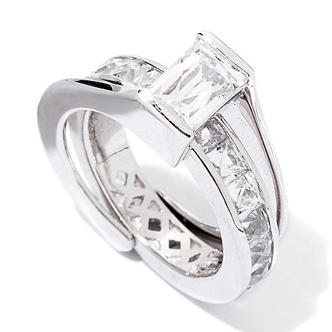 118-588 - TYCOON Platinum Embraced™ 5.12 DEW Simulated Diamond Two-Piece Ring Set