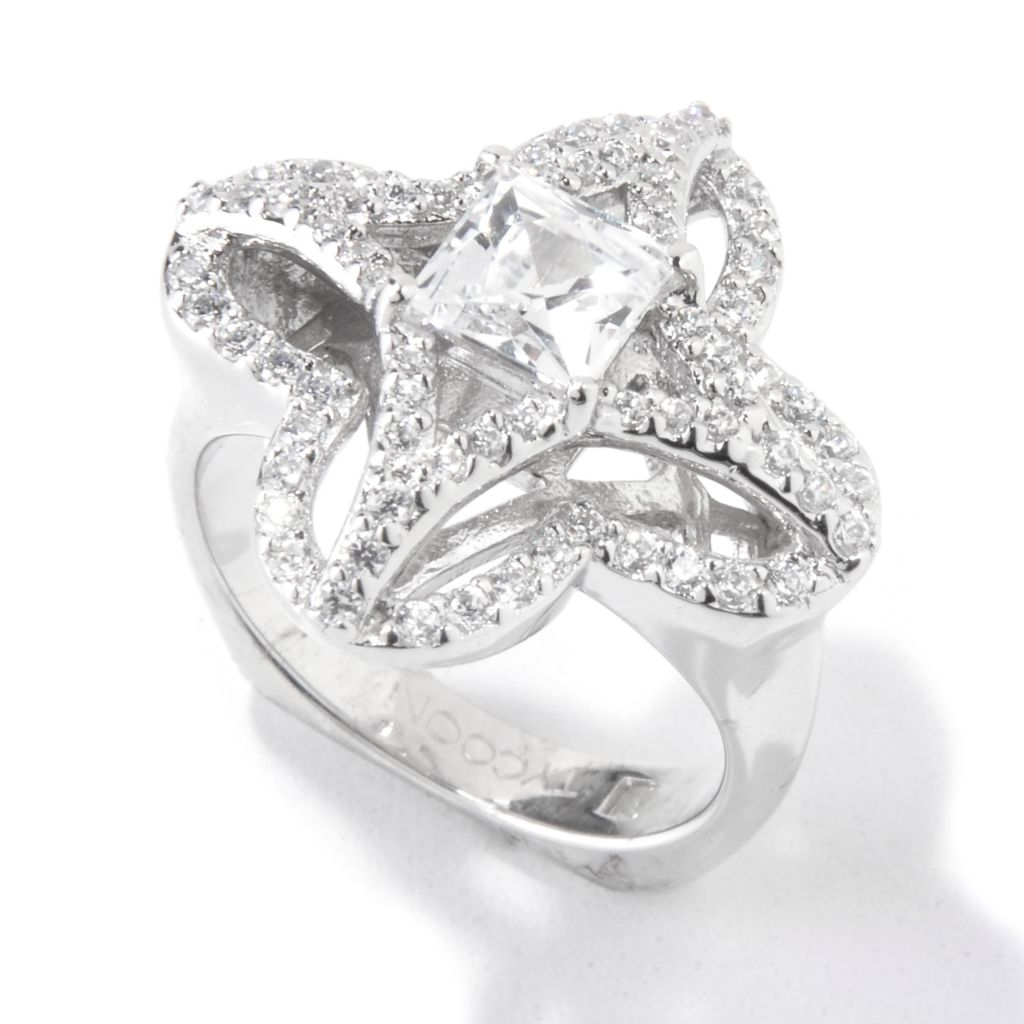 118-599 - TYCOON Platinum Embraced™ 1.68 DEW Simulated Diamond Clover Ring