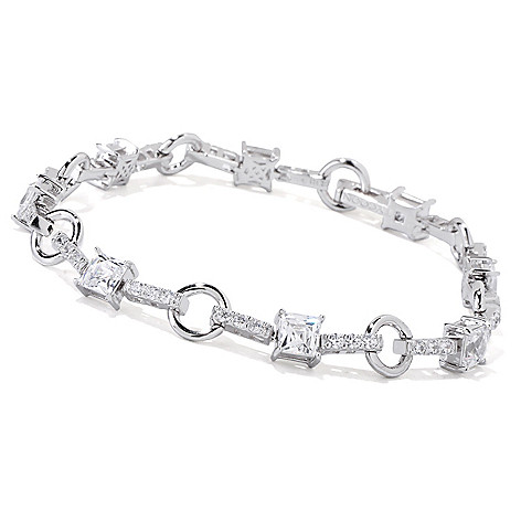 118-601 - TYCOON Platinum Embraced™ Square & Round Simulated Diamond Link Bracelet