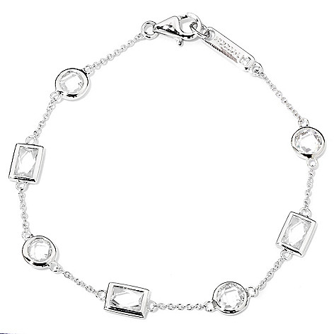 118-609 - TYCOON Platinum Embraced™ 3.06 DEW Bezel Set Simulated Diamond Station Bracelet