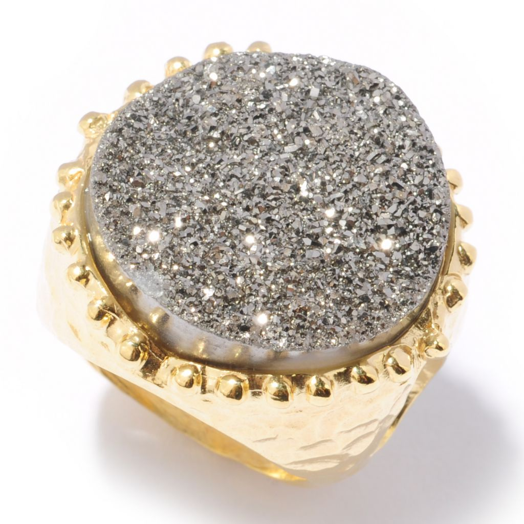 118-634 - Toscana Italiana 18K Gold Embraced™ 20mm Drusy Martellato Ring