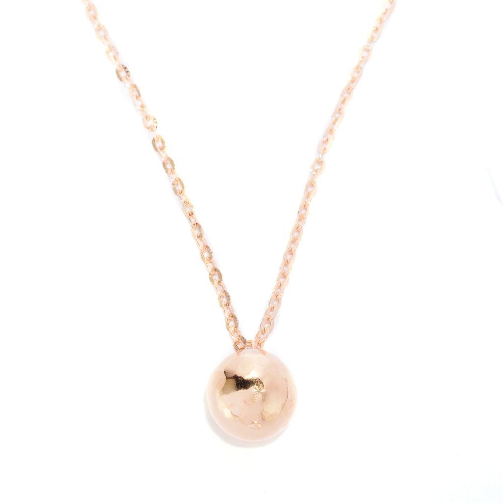 "118-637 - Toscana Italiana Gold Embraced™ Martellato Bead Pendant w/ 36"" Chain"
