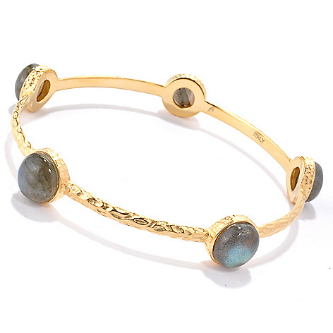 118-640 - Toscana Italiana 18K Gold Embraced™ 8'' Labradorite Station Slip-On Bangle Bracelet