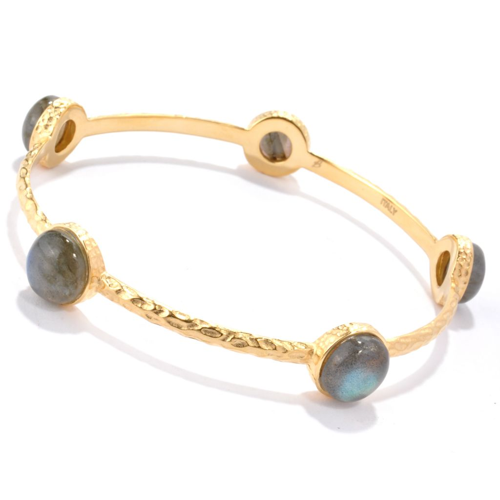 "118-640 - Toscana Italiana 18K Gold Embraced™ 8"" Labradorite Station Slip-On Bangle Bracelet"