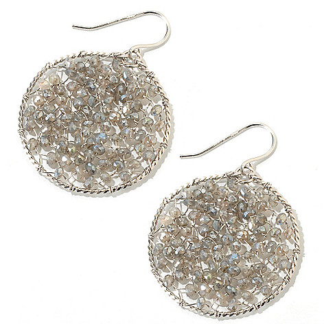 118-671 - Sterling Silver Labrodorite Circle Star Gazer Earrings