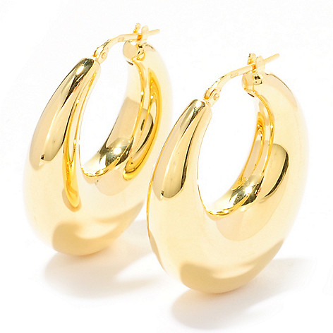 118-690 - Portofino Gold Embraced™ Electroform Graduated Hoop Earrings