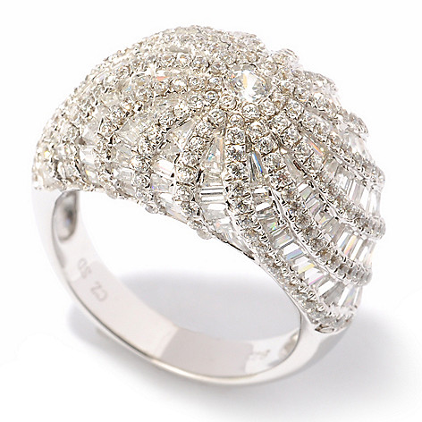 118-703 - Brilliante® Platinum Embraced™ 9.62 DEW Baguette & Round Cut Simulated Diamond Dome Ring
