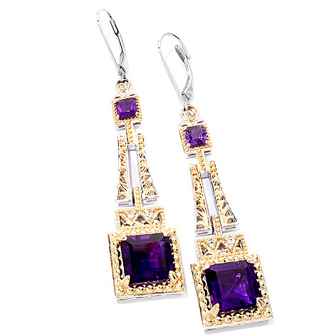 118-730 - Gems en Vogue II 12.64ctw Princess Cut Amethyst & White Sapphire Drop Earrings