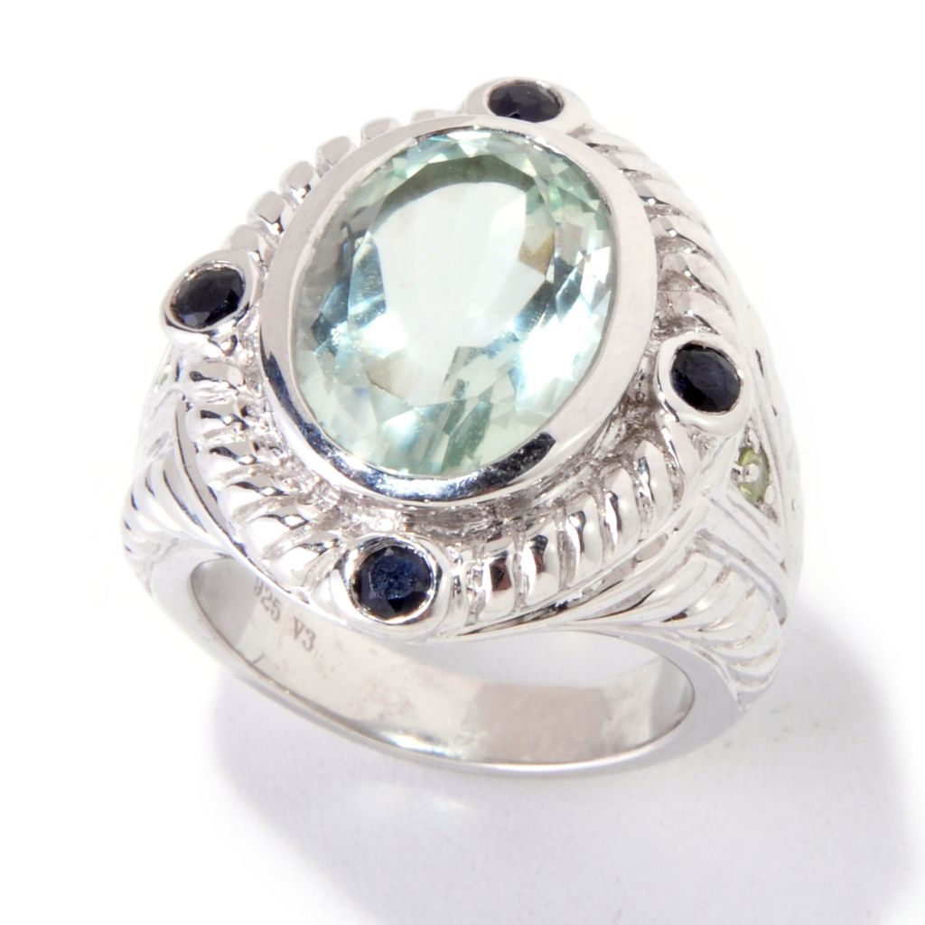 118-879 - Gem Insider Sterling Silver 5.28ctw Prasiolite & Gemstone Ring
