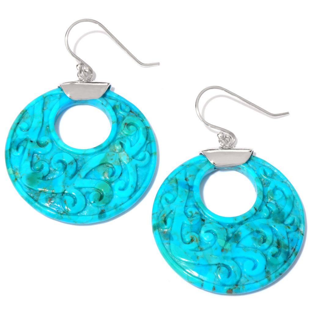 "118-911 - Gem Insider Sterling Silver 2"" Turquoise Carved Swirl Cut-out Earrings"