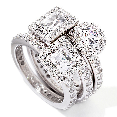 118-963 - TYCOON Three-Piece Multi-Shape Simulated Diamond Stack Ring Set