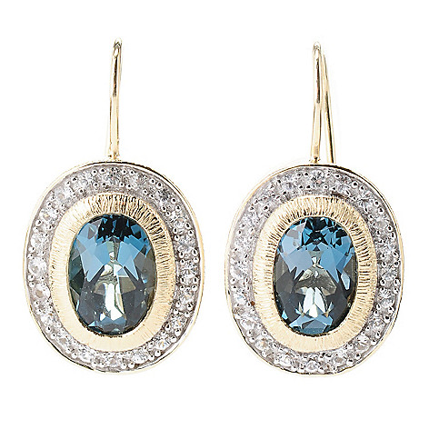 119-128 - Michelle Albala Oval Gemstone & White Sapphire 1'' Drop Earrings