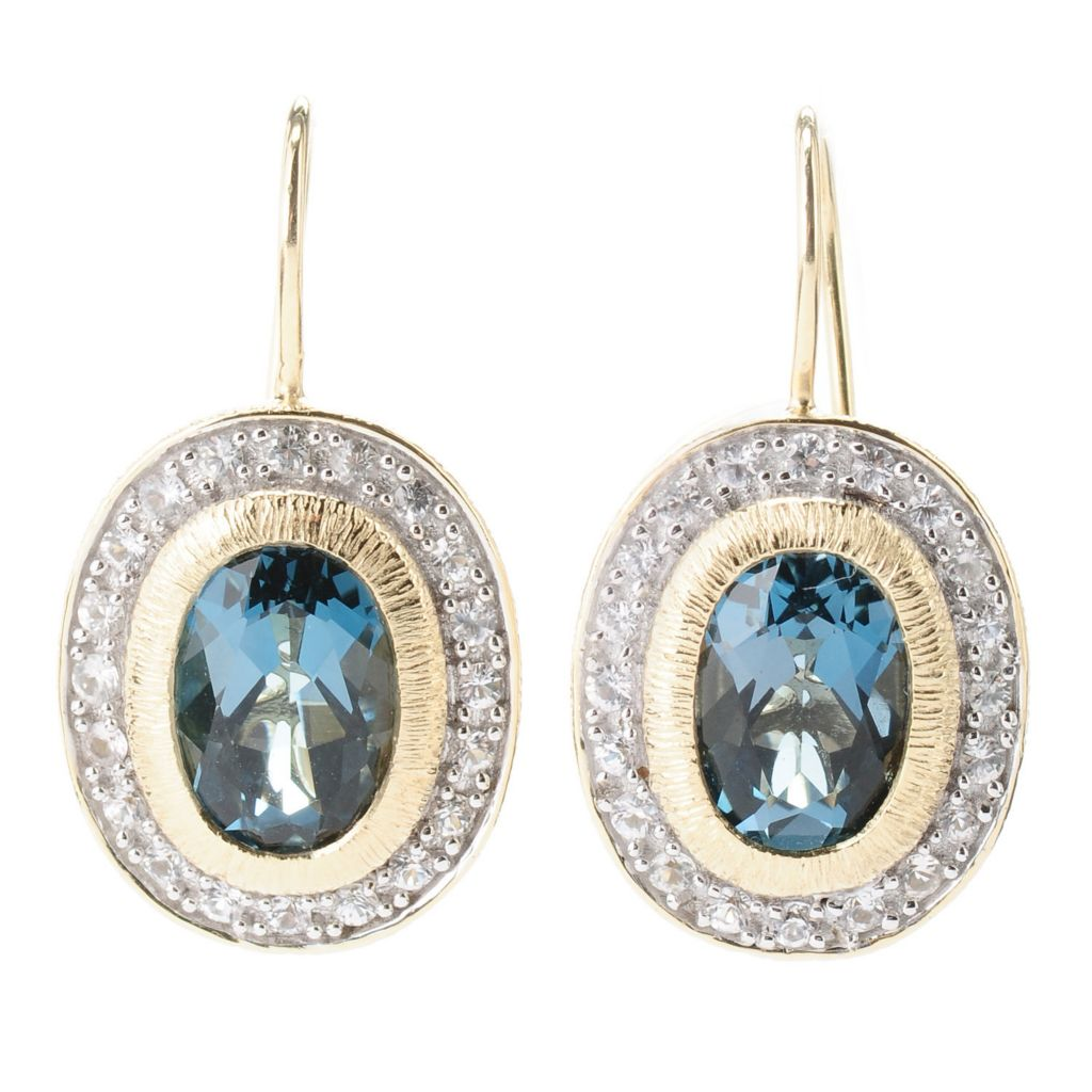 "119-128 - Michelle Albala Oval Gemstone & White Sapphire 1"" Drop Earrings"