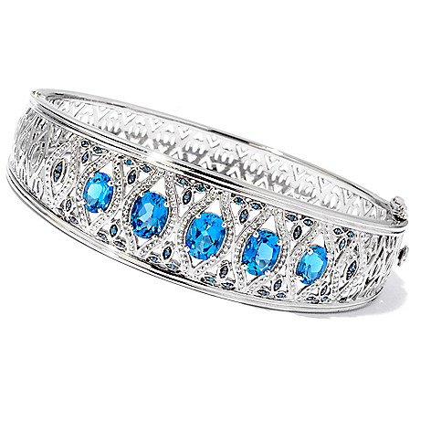 119-161 - NYC II 5.22ctw London Blue Topaz & Blue Diamond Hinged Bangle