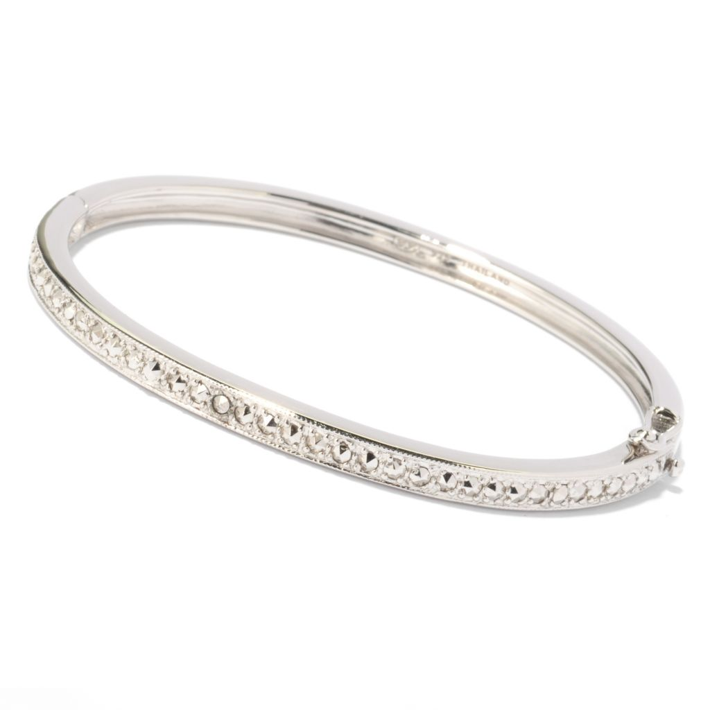"119-170 - Dallas Prince 7"" Chrome Marcasite Bangle Bracelet"