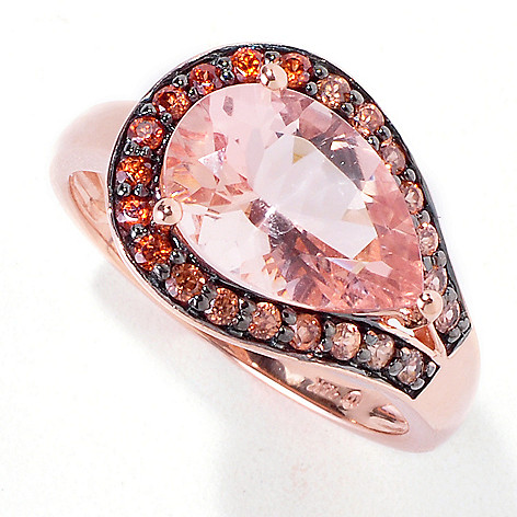 119-231 - Gem Treasures 14K Rose Gold 3.09ctw Peach Morganite & Shades of Zircon Ring