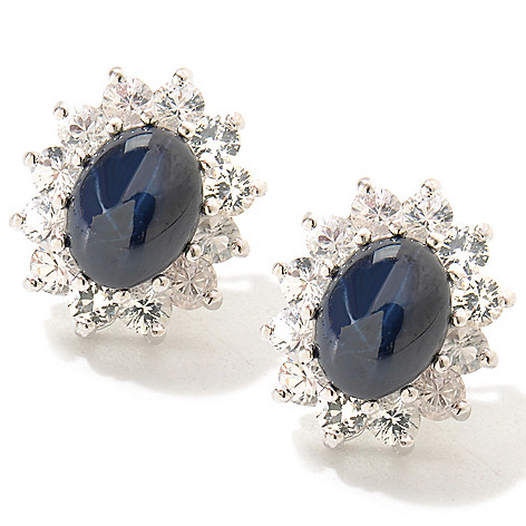 119-259 - Gem Insider Sterling Silver 5.30ctw Blue & White Sapphire Star Earrings