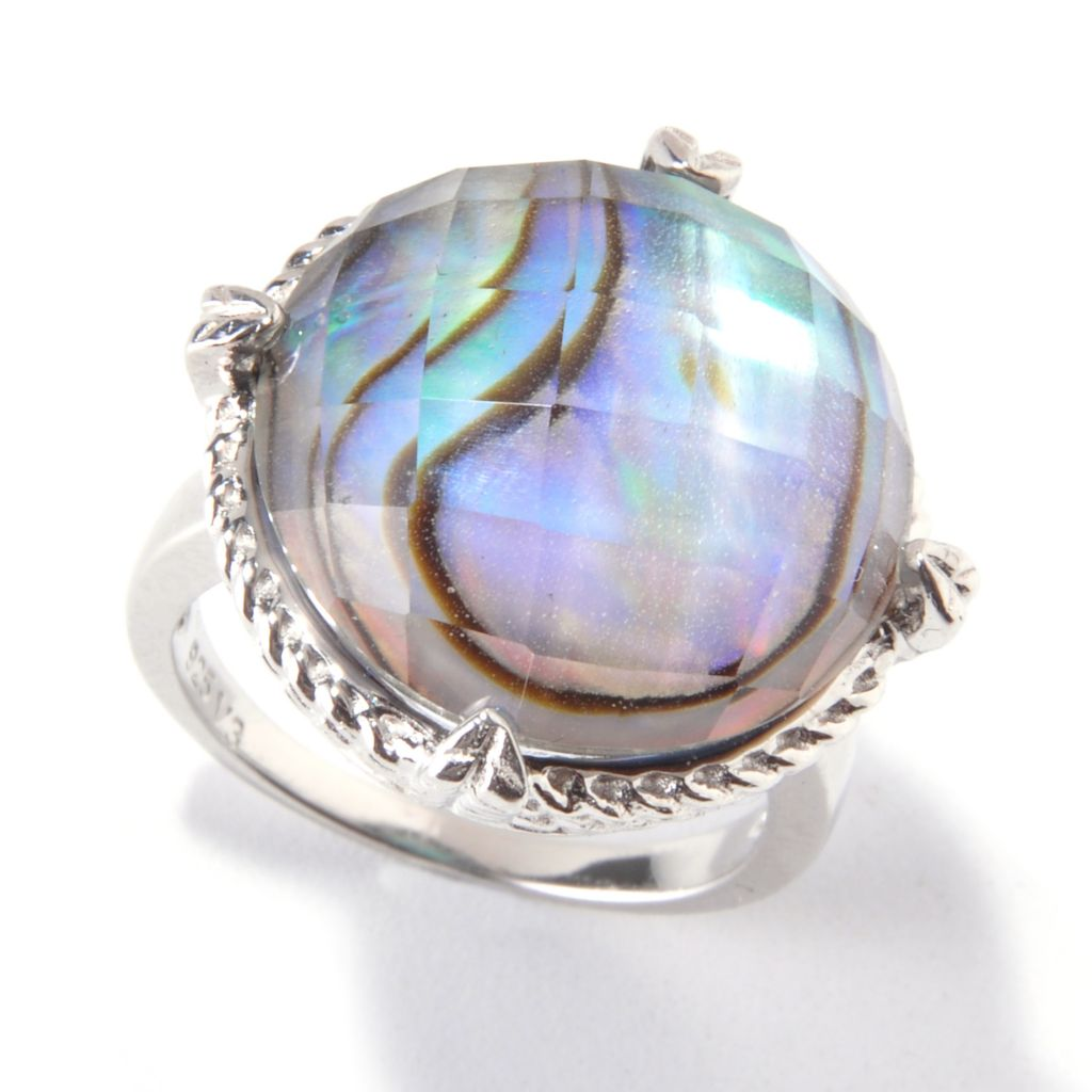 119-267 - Sterling Silver 17mm Abalone Shell & Rock Crystal Doublet Ring