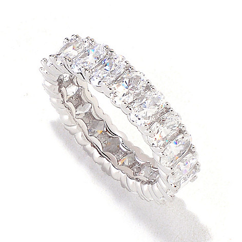 119-274 - Brilliante® Platinum Embrace™ 4.20 DEW Oval Cut Simulated Diamond Eternity Band Ring
