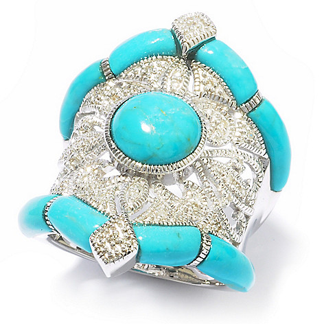 119-283 - Gem Insider™ Sterling Silver Turquoise & Diamond Ring