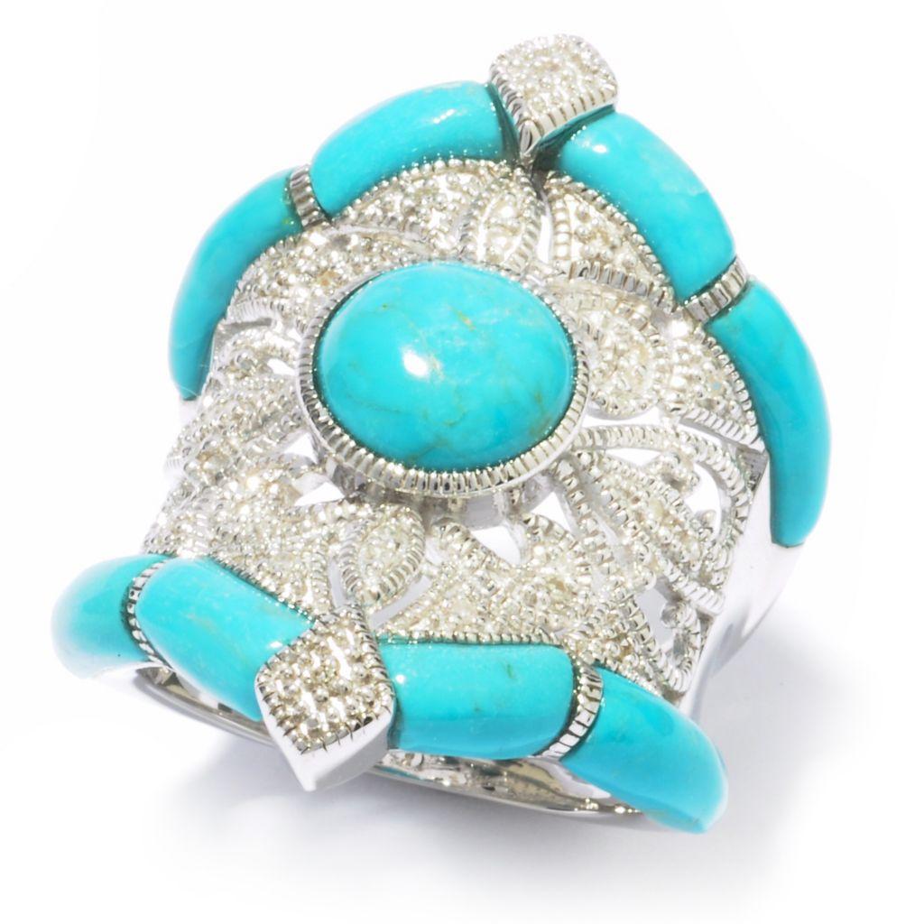 119-283 - Gem Insider Sterling Silver Turquoise & Diamond Ring