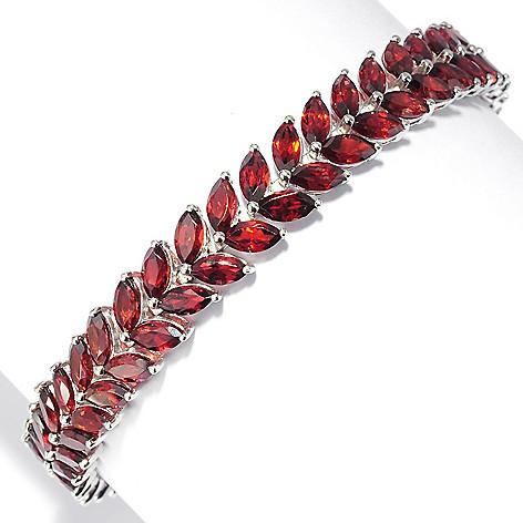 119-287 - Gem Insider Sterling Silver Marquise Gemstone Line Bracelet
