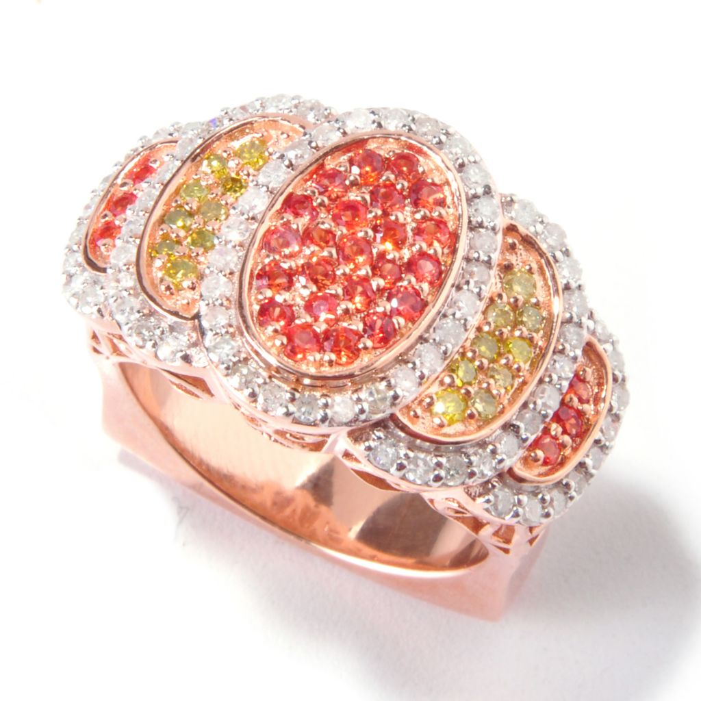 119-327 - Eugenio Designs 1.26ctw Diamond & Orange Sapphire Ring