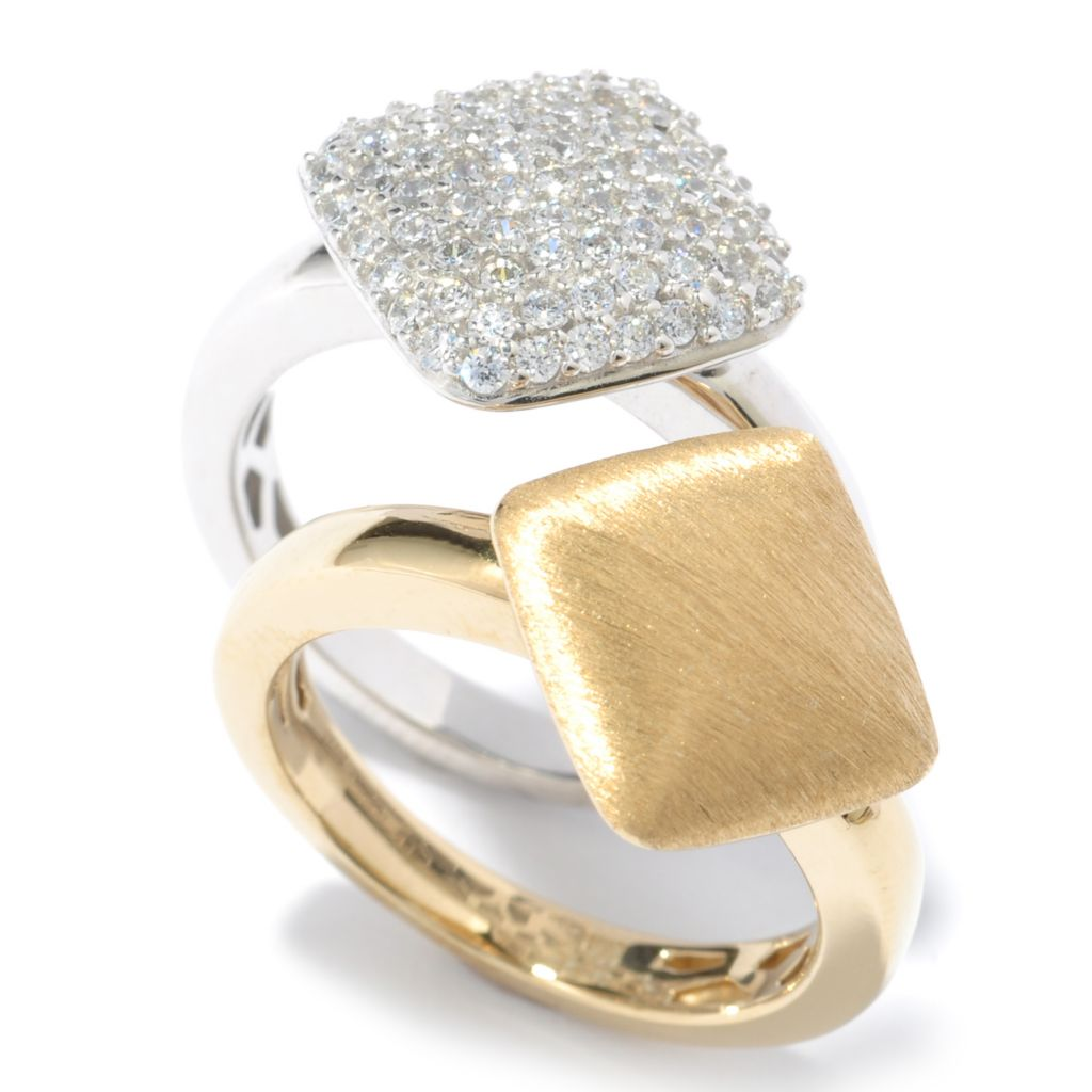 119-353 - Sonia Bitton Set of Two Simulated Diamond Two-tone Diamond Shaped Rings