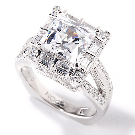 119-376 - TYCOON 5.11 DEW Platinum Embraced™ Square Cut Simulated Diamond Halo Ring