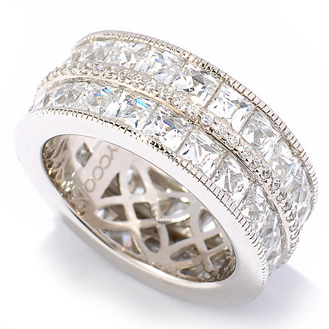 119-380 - TYCOON 7.68 DEW Simulated Diamond Two-Row Square Cut Eternity Band Ring
