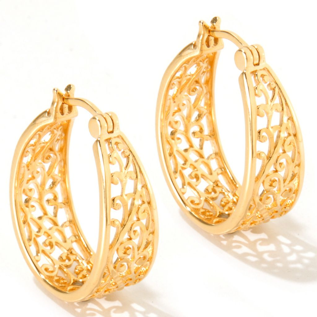 119-396 - Jaipur Bazaar Gold Embraced™ Filigree Oval Hoop Earrings