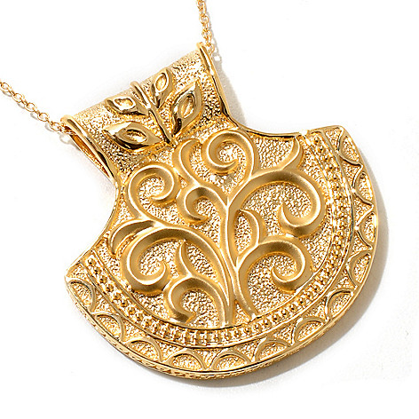 119-401 - Jaipur Bazaar Gold Embraced™ Textured Half-Moon Shield Pendant w/ Chain