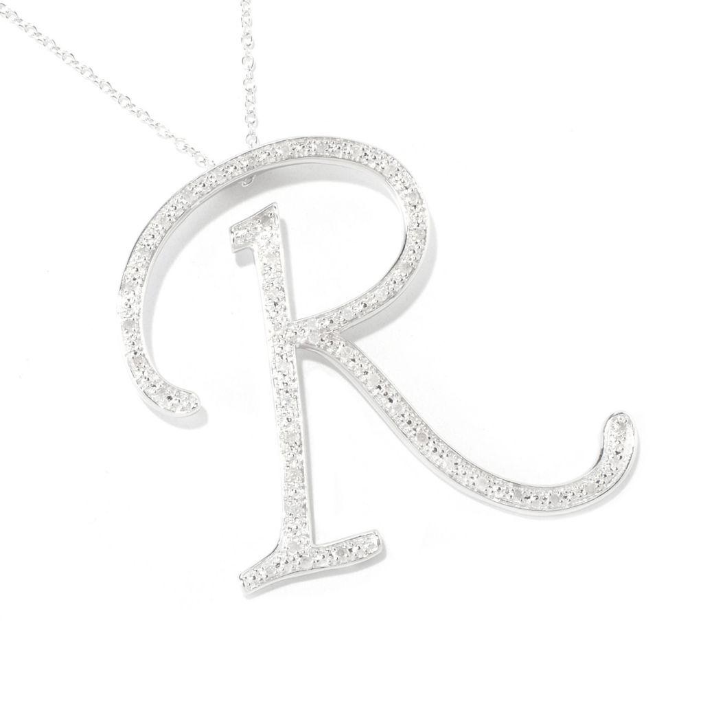"119-478 - Diamond Treasures Sterling Silver Diamond Initial Pendant w/ 24"" Chain"
